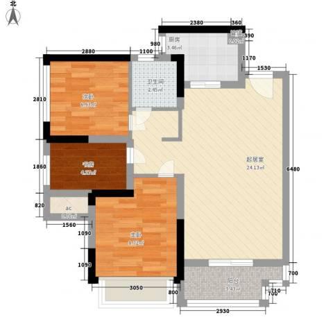 KPR佳兆业广场3室0厅1卫1厨81.00㎡户型图