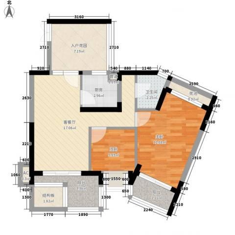 水三千2室1厅1卫1厨84.00㎡户型图