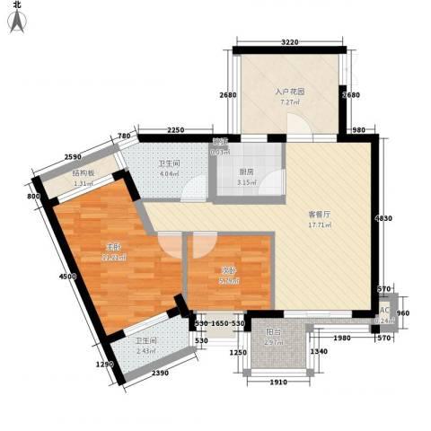 水三千2室1厅2卫1厨84.00㎡户型图