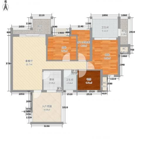 水三千3室1厅2卫1厨108.00㎡户型图
