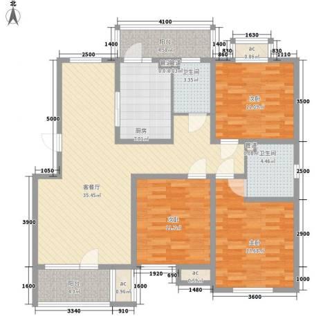 明城东岸3室1厅2卫1厨136.00㎡户型图