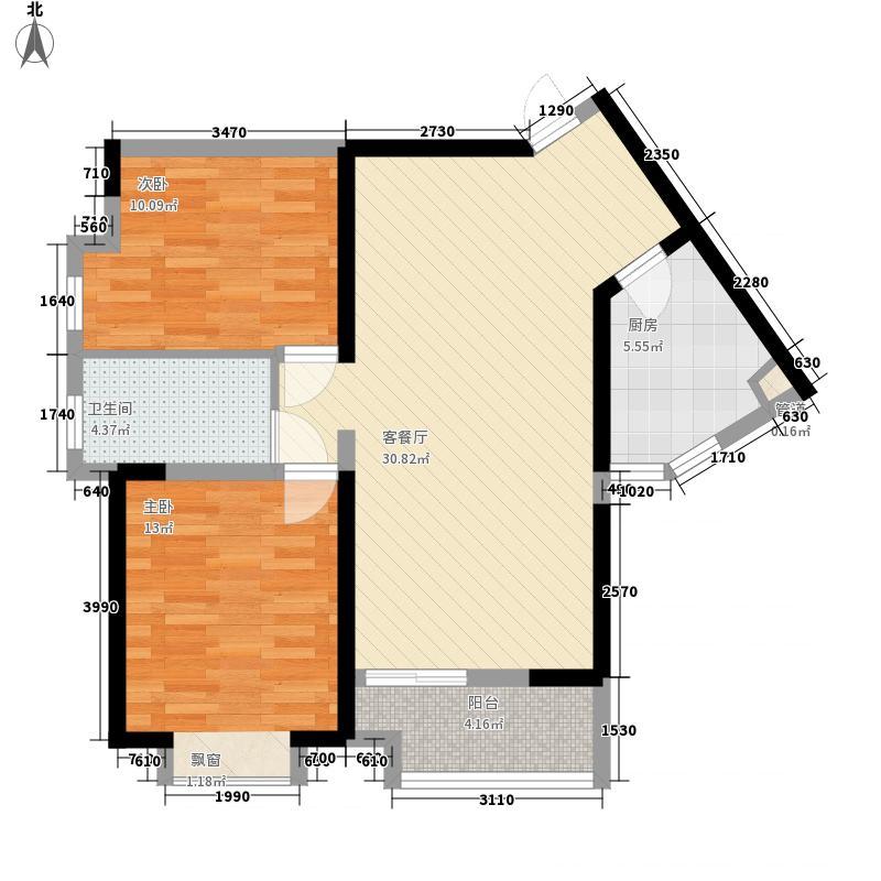 民发世界城三期88.00㎡三期6#7#8#9#C2户型2室2厅1卫1厨