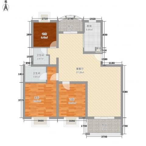 源城锦翠苑3室1厅2卫1厨126.00㎡户型图
