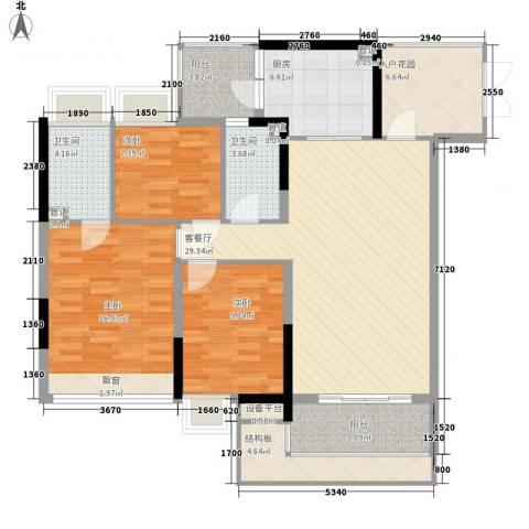 云裳丽影二期3室1厅2卫1厨113.00㎡户型图