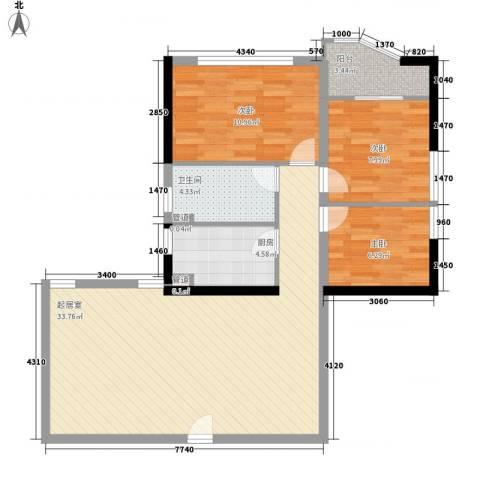 文苑花苑3室0厅1卫1厨80.80㎡户型图