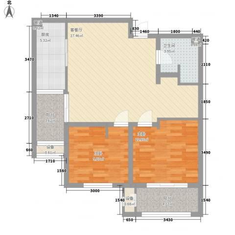 林荫大院2室1厅1卫1厨97.00㎡户型图