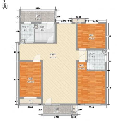 明城东岸3室1厅2卫1厨142.00㎡户型图