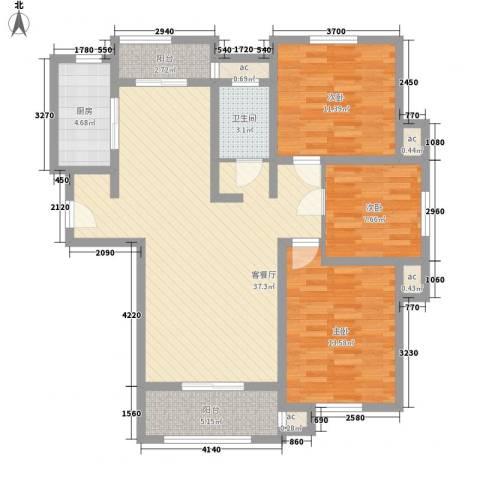 怡莲新城3室1厅1卫1厨104.00㎡户型图