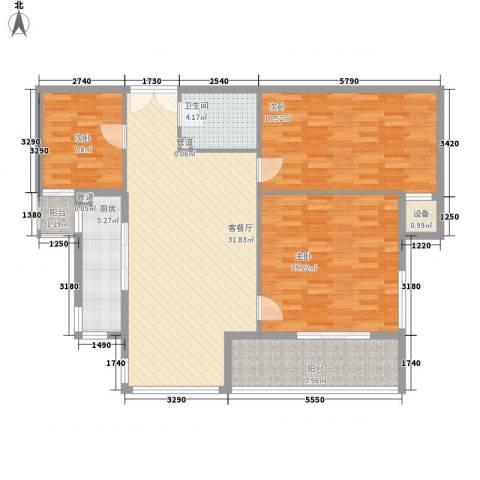 紫雁朗庭3室1厅1卫1厨136.00㎡户型图