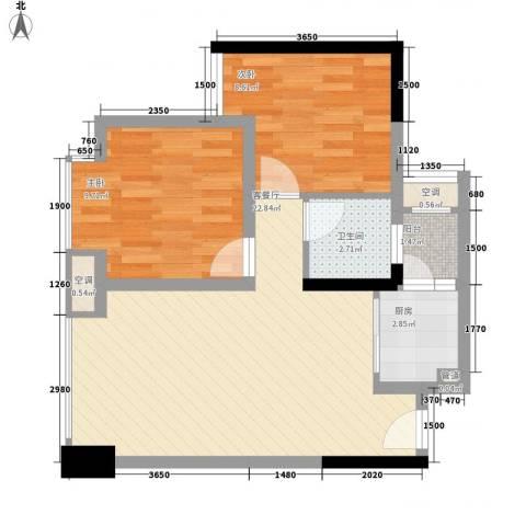 优派青年公寓2室1厅1卫1厨55.00㎡户型图