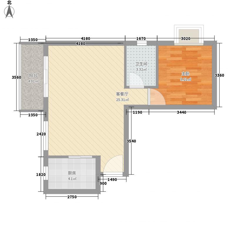 裕华嘉苑三期65.00㎡C-05户型1室2厅1卫1厨