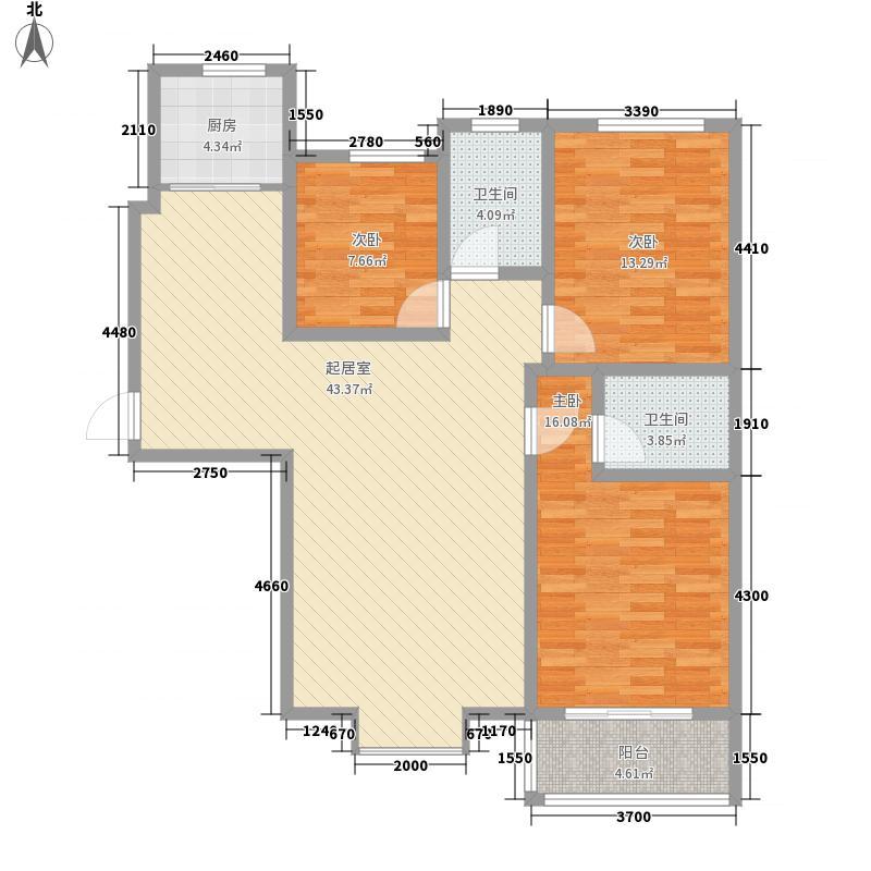 迎西城・建安佳园137.00㎡C户型3室2厅2卫1厨