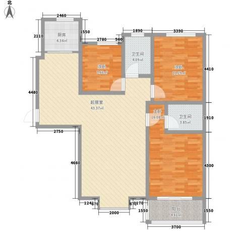 迎西城・建安佳园3室0厅2卫1厨137.00㎡户型图