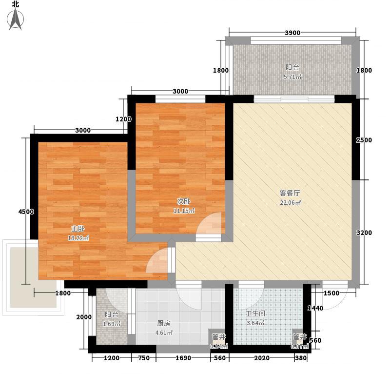 晏北人家C户型:三房两厅一卫,91.76平米户型3室2厅1卫1厨
