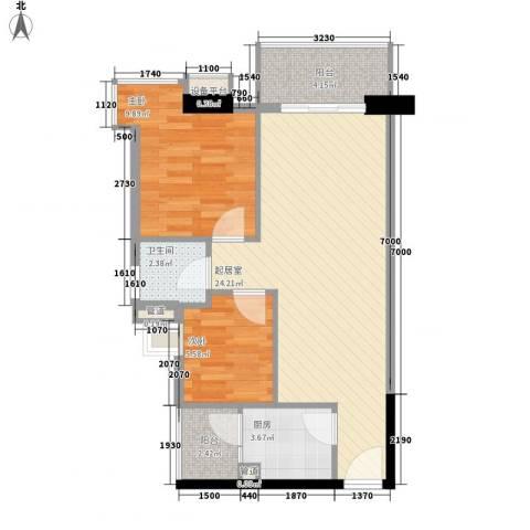 精英名都2室0厅1卫1厨68.00㎡户型图