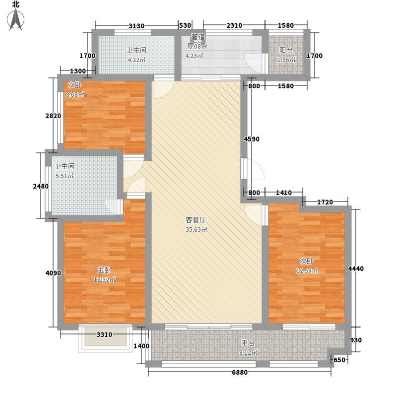 将军府135.00㎡1-5号楼F户型3室2厅2卫