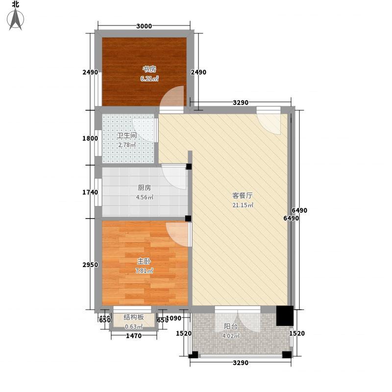 欣欣佳园67.27㎡一期12#E3户型2室1厅1卫1厨