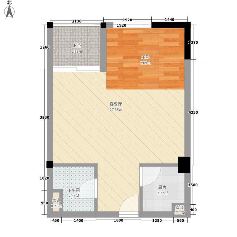 枫桥家园54.00㎡13-D户型1室2厅1卫1厨