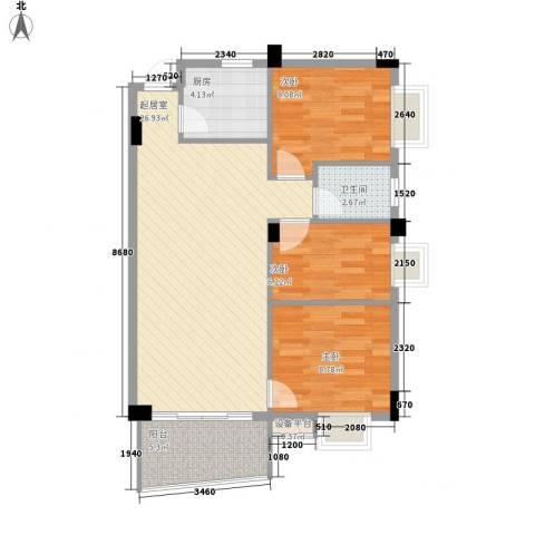 泰景花园3室0厅1卫1厨88.00㎡户型图