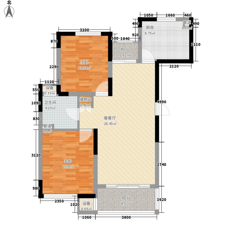 绿地波士顿公馆99.00㎡GB2户型2室2厅1卫1厨