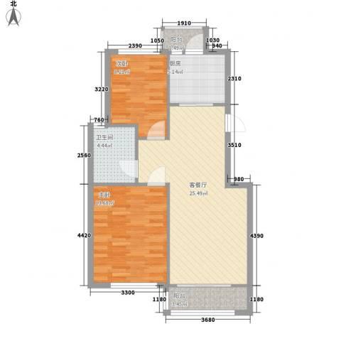 连大文润金宸2室1厅1卫1厨89.00㎡户型图
