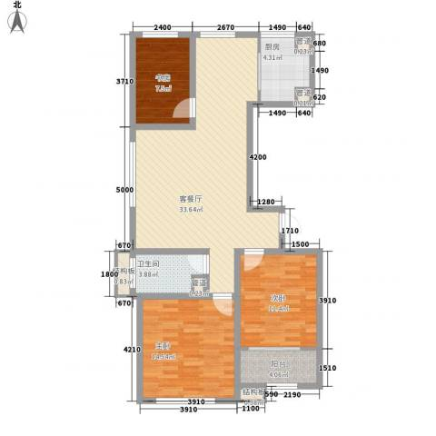 和谐家园3室1厅1卫1厨115.00㎡户型图