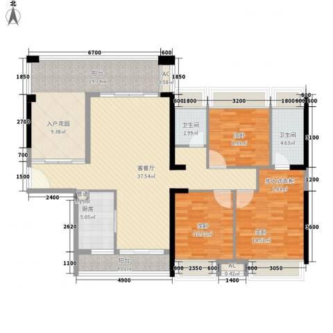 金沙世纪城3室1厅2卫1厨156.00㎡户型图