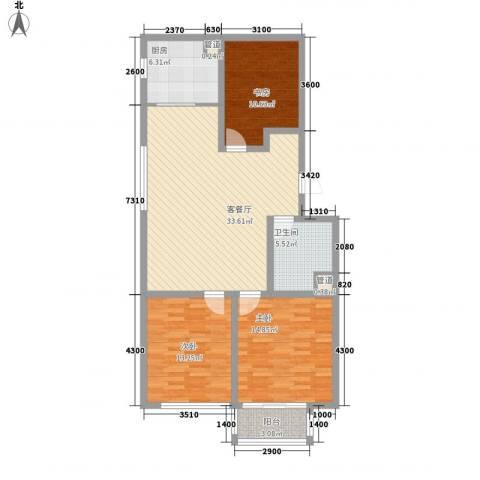 和谐家园3室1厅1卫1厨116.00㎡户型图