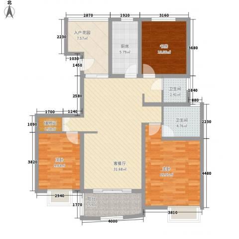 吉富绅花园3室1厅2卫1厨138.00㎡户型图