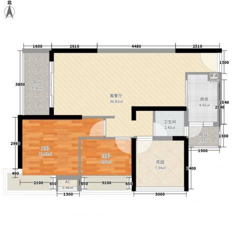 金沙世纪城2室1厅1卫1厨102.00㎡户型图