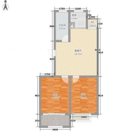 和谐家园2室1厅1卫1厨88.00㎡户型图