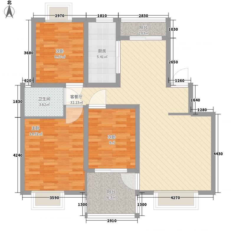 路通城邦111.00㎡A户型3室2厅1卫1厨