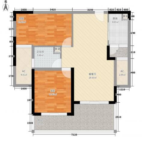天隆・三千海2室1厅1卫1厨91.00㎡户型图