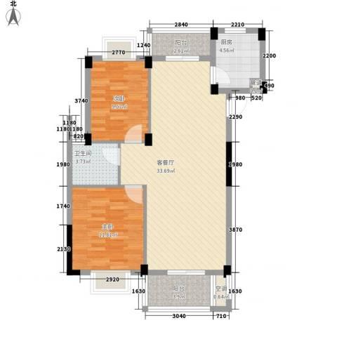 嘉兴东方巴黎城2室1厅1卫1厨100.00㎡户型图