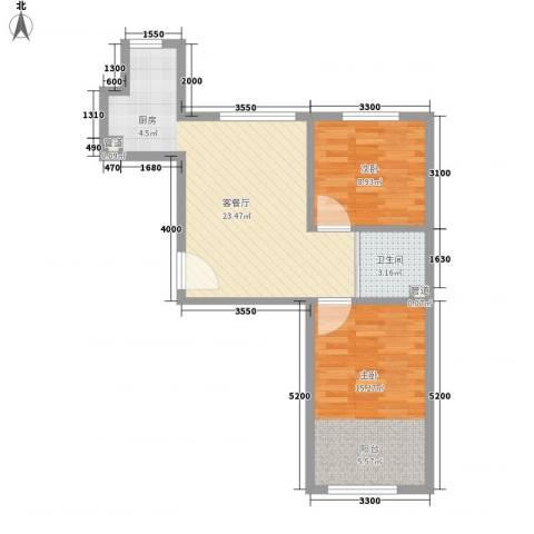 良品柏宏爱琴湾2室1厅1卫0厨72.00㎡户型图