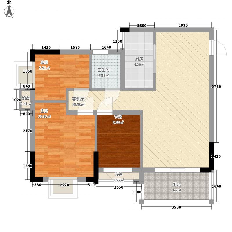 粤宇・碧水湾88.87㎡20栋2-11层标准层g205单元户型3室2厅1卫1厨