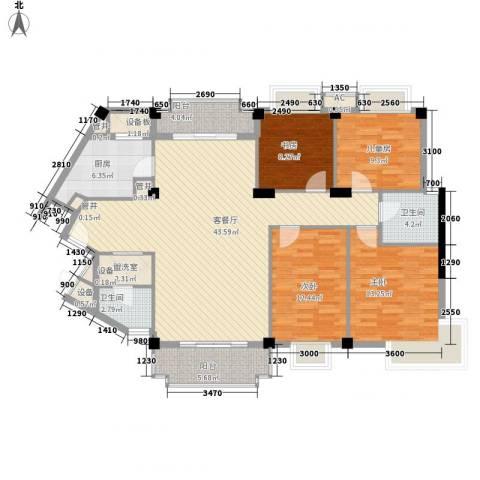 仁恒河滨城三期4室1厅2卫1厨134.00㎡户型图