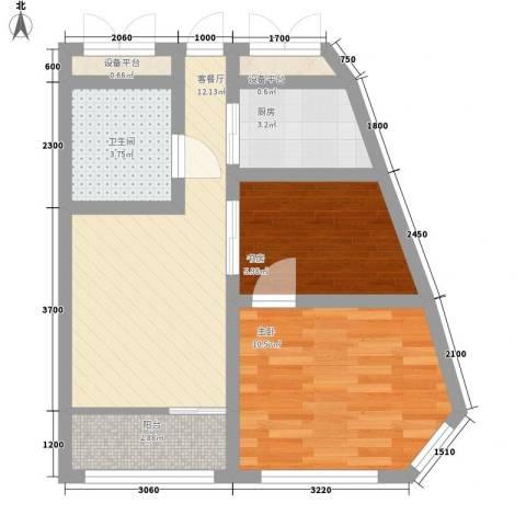 宅语原2室1厅1卫1厨61.00㎡户型图