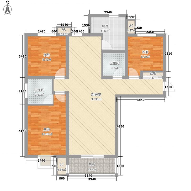 枫景华庭128.00㎡8号楼C户型3室2厅2卫1厨