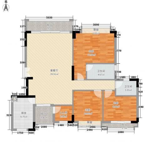 富力国际公馆3室1厅2卫1厨150.00㎡户型图