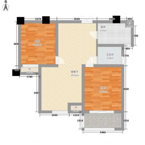 阳湖名城2室1厅1卫1厨91.00㎡户型图