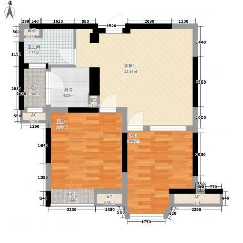 佘山假日半岛公寓2室1厅1卫0厨82.00㎡户型图