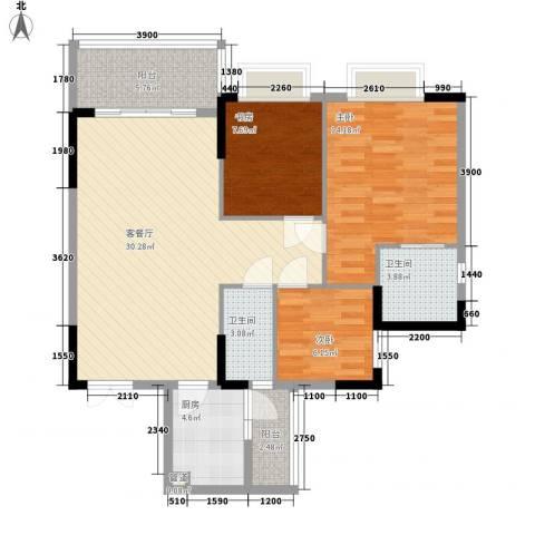 江滨花园3室1厅2卫1厨110.00㎡户型图