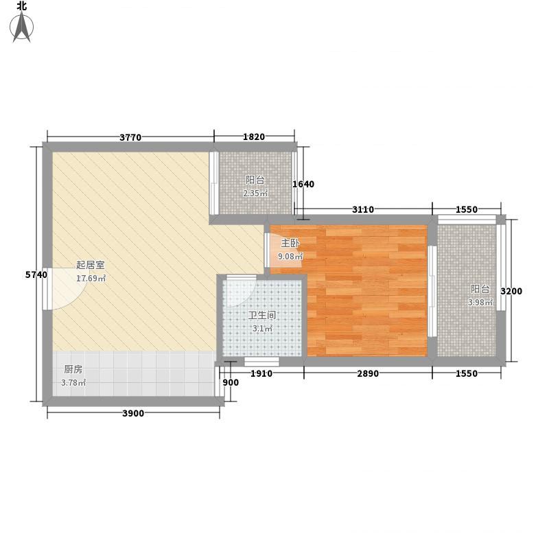 明珠花园48.46㎡E标准层户型1室1厅1卫1厨
