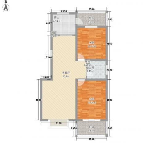 江南鸿郡2室1厅1卫1厨110.00㎡户型图