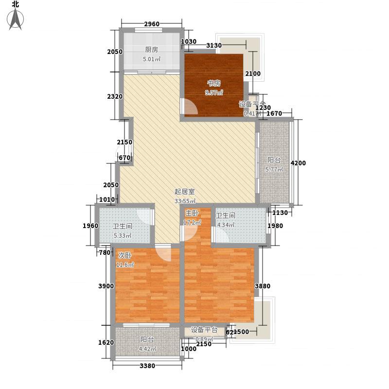 正太悠然居136.10㎡小高层A户型3室2厅2卫
