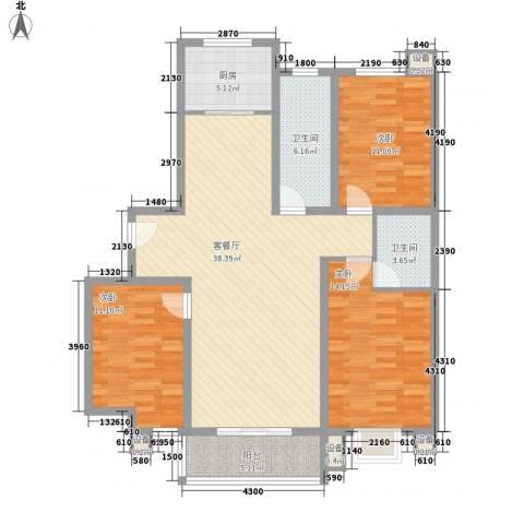 江南鸿郡3室1厅2卫1厨109.00㎡户型图