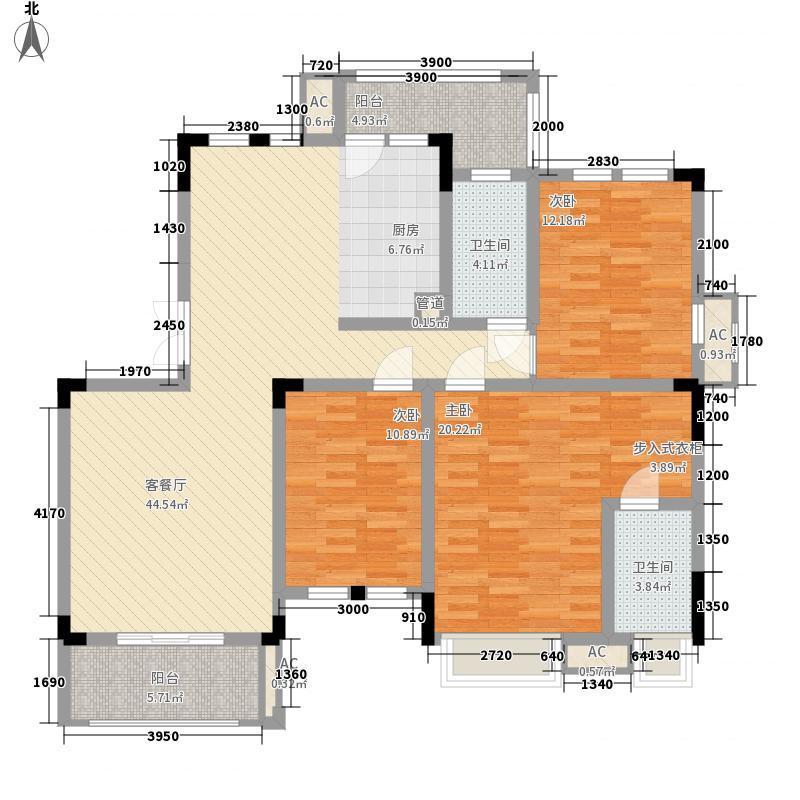 彰泰兰乔圣菲131.00㎡二期21#A27户型3室2厅2卫1厨