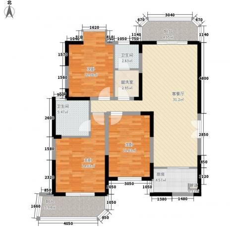 华清学府城3室1厅2卫1厨126.00㎡户型图