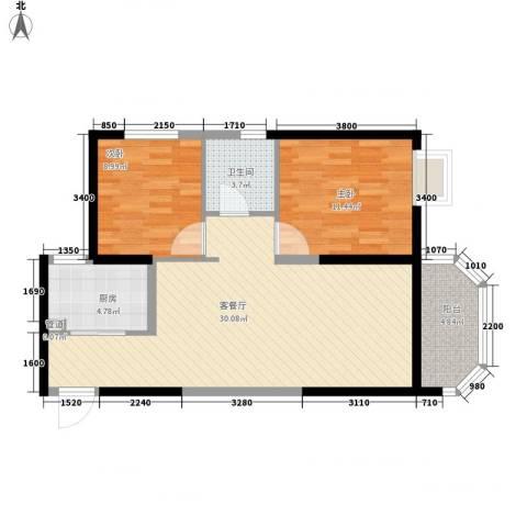 华清学府城2室1厅1卫1厨86.00㎡户型图